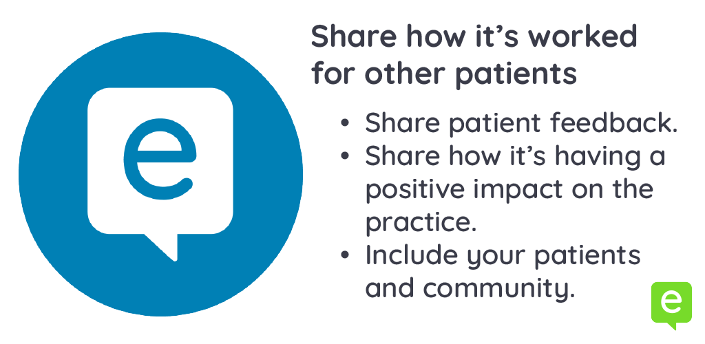 Image with 3 ways to share positive feedback with patients